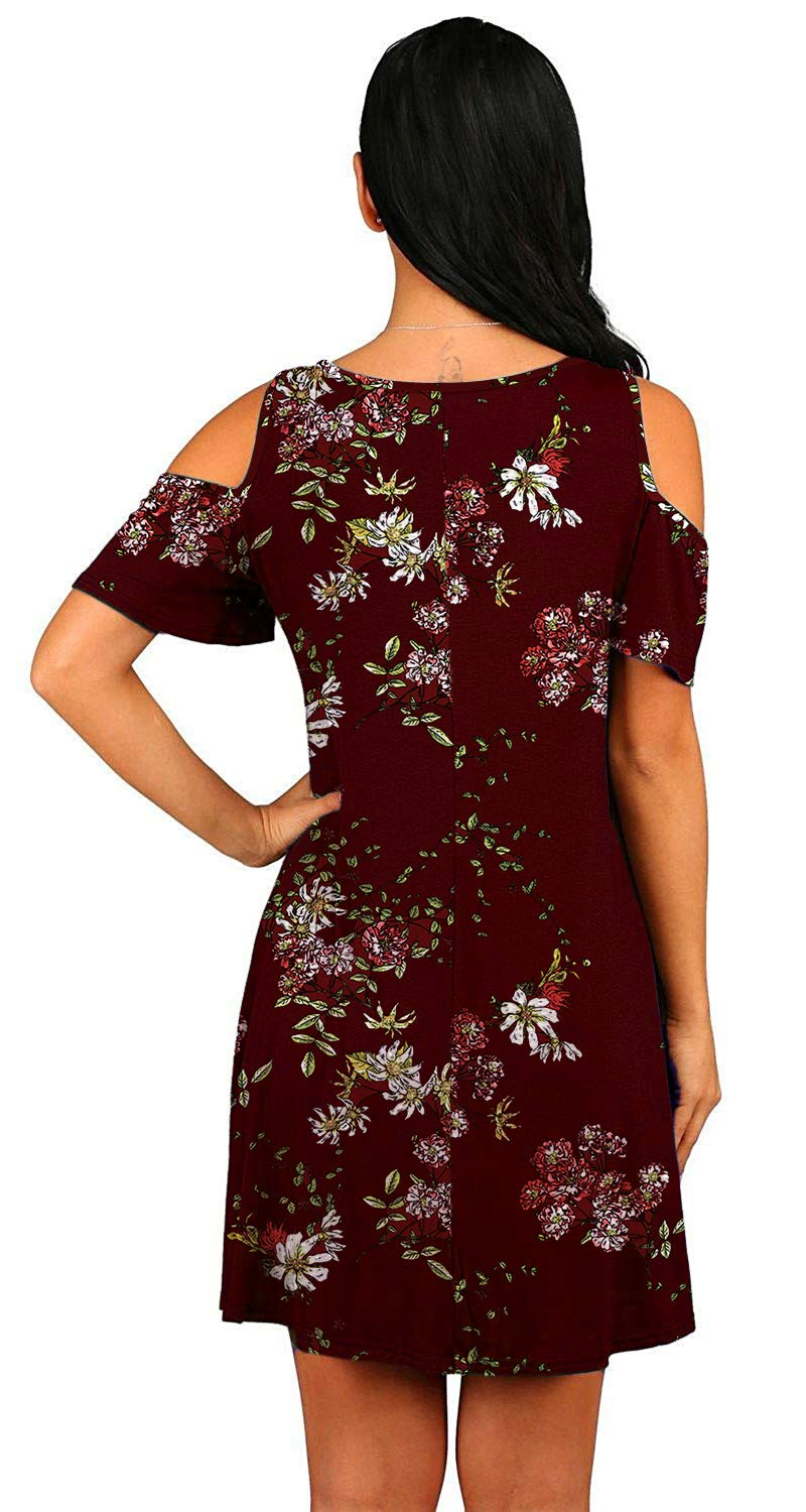 Donnalla Women\'s Summer Cold Shoulder midi Dress Tunic Top Swing T-Shirt Loose Dress with Pockets(Wine Red Floral Large)