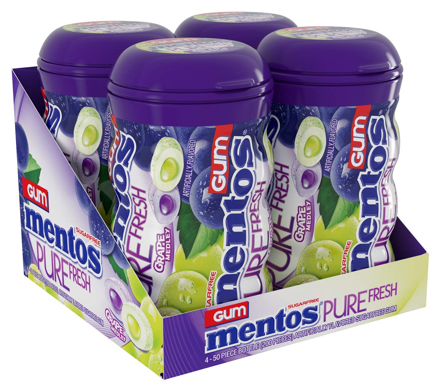 Mentos Pure Fresh Sugar-Free Chewing Gum With Xylitol, Grape Medley, 50 Piece Bottle (Bulk Pack of 4)