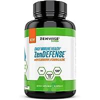 Daily Immune System Defense Supplement - with Elderberry, Vitamin C & Zinc - Supports Immunity & Inflammatory Response - Magnesium, Garlic, Turmeric & Quercetin - Vegan Complex