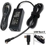 "45W USB-C Adapter Charger Power Supply for HP Spectre x360 13 HP Pavillion X2; Lenovo Thinkpad X1 Tablet Yoga 910 720 13"" 80VF002JUS IBM Yoga 5; ASUS ZenBook 3 UX390 -90 Degree Plug"