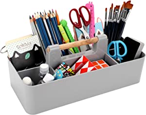 BTSKY New Stackable Plastic Portable Craft Storage Organizer Caddy Tote, Basket Caddy DIY Divided Basket Bin with Wooden Handle for Craft, Sewing, Art Supplies, Stationery Office Supplies Light Grey