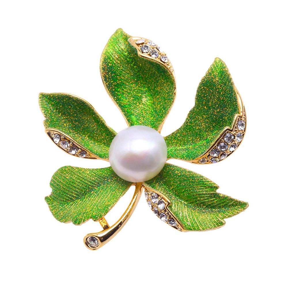 JYX Beautiful Maple-leaf 11.5mm Natural Freshwater Pearl Brooch