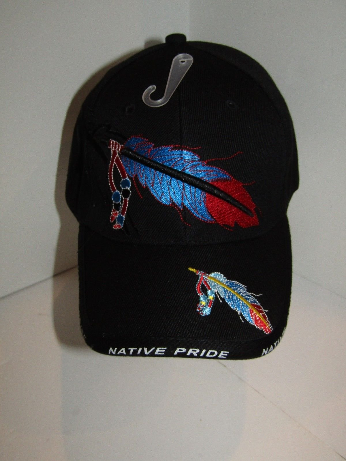 Native American Feather and Beads Native Pride Indian Shadow Black Ball Cap  Hat 20b4ce36639