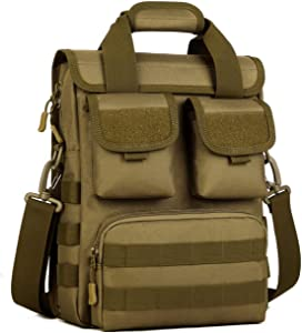 Tactical Briefcase Heavy Duty Military Shoulder Messenger Bag Mens Handbag-Brown
