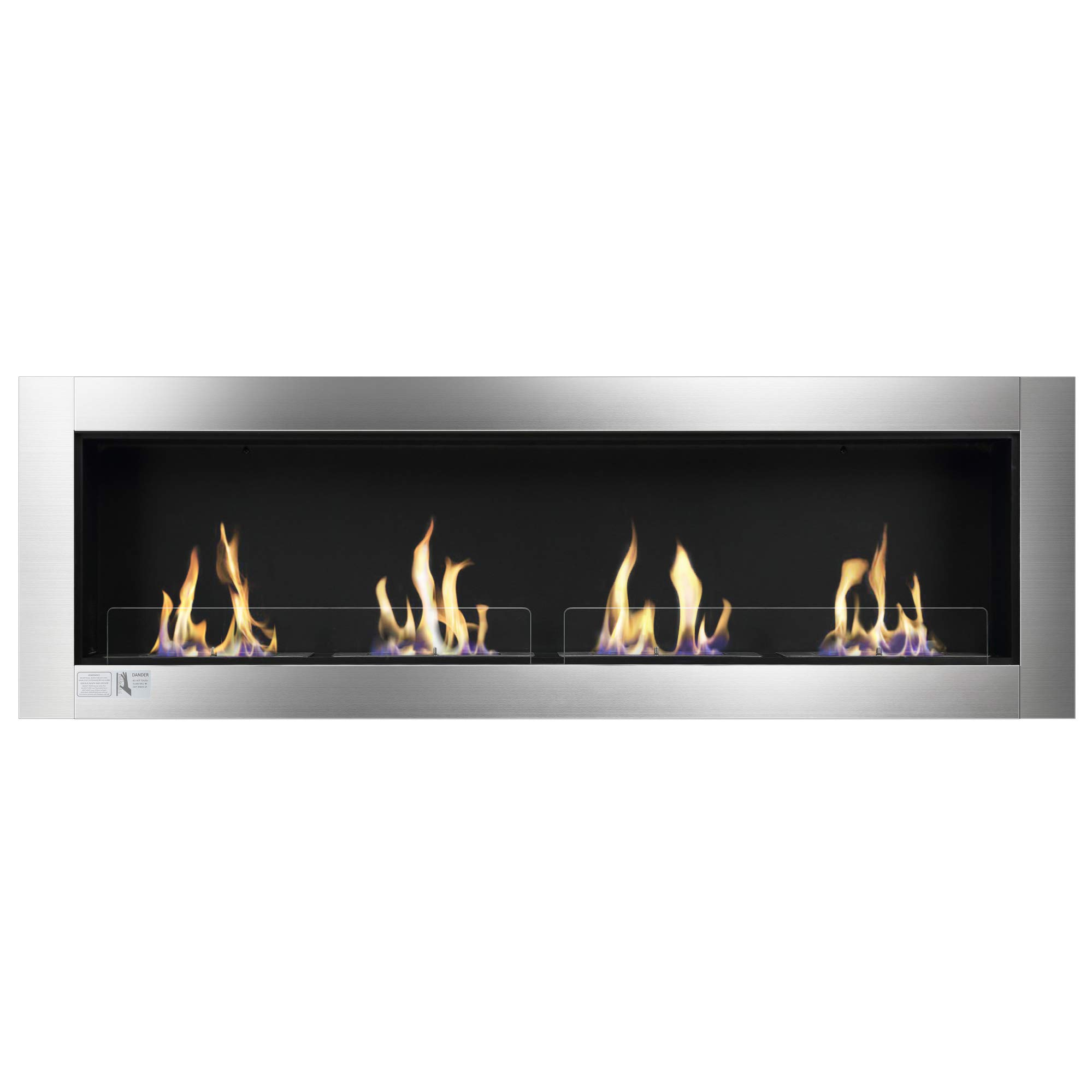 Xbeauty 66'' Ventless Built in Recessed Bio Ethanol Fireplace with Safety Glass,Indoor Wall Mounted Fireplace by Xbeauty