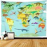 Dinosaur Map Tapestry for Kids Educational, Animal Landmarks World Map Wall Hanging for Bedroom Living Room Dorm, 60 x…
