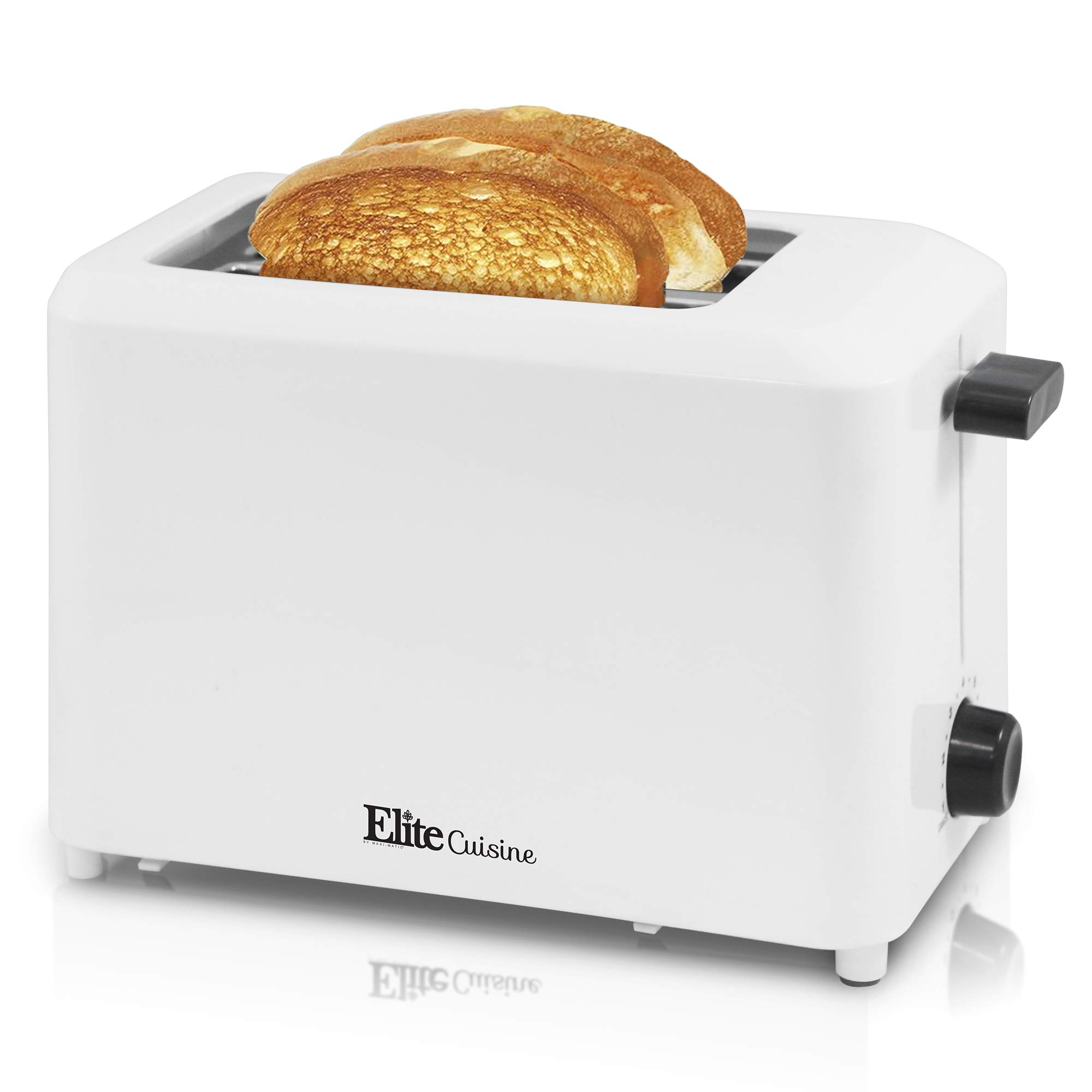 Elite Cuisine ECT-1027 Cool Touch Toaster with Extra Wide 1.25'' Slots for Bagels and Specialty Breads, 2 Slices, White by Elite Cuisine (Image #1)