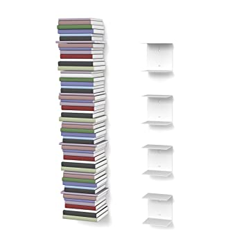 home3000 invisible bookshelves with 8 compartments white up to 200 cm stack of books for - Invisible Bookshelves