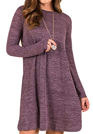 76ccefc73b POGTMM Women Round Neck Pullover Knitted Knee Length Long Sleeve Sweater  Dress(A-Purple