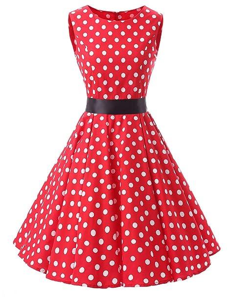 VKStar® - Vestido retro para mujer, estilo años 50 y 60,