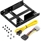 """deleyCON Einbaurahmen SET - für 2x 2,5"""" Festplatten / SSD's auf 3,5"""" Adapter Wechselrahmen Mounting Frame Halterung Schienen inkl. Schrauben SATA Kabel und Stromadapter"""