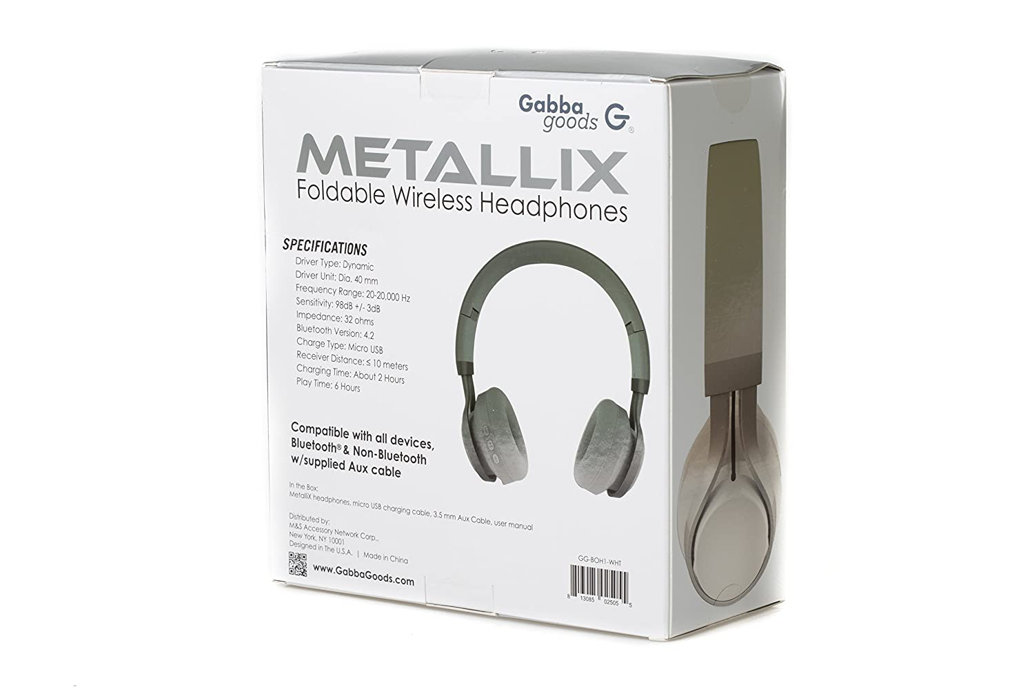 c688a8ceaf5 Amazon.com: -GabbaGoods Over Ear Wireless Foldable DJ Headphones for All  Bluetooth Enabled Devices, iPhones, Smartphones, Tablets, MP3 Players.