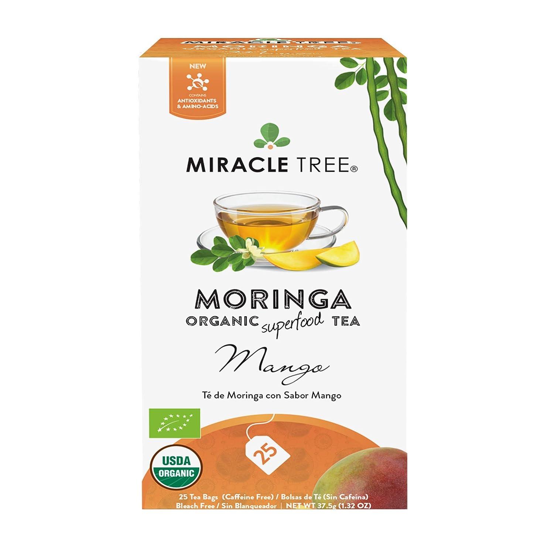 Miracle Tree - Organic Moringa Superfood Tea, 25 Individually Sealed Tea Bags, Mango