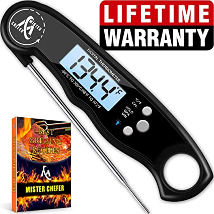 Instant Read Thermometer Best Waterproof Digital Meat Thermometer with  Backlight and Calibration functions Food Thermometer for Outdoor and  Kitchen