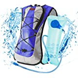 LYCAON 2L Hydration Backpack (BPA Free), 600D Waterproof Fabric, Lightweight Water Back Pack Hiking Cycling Biking Running Camping Bladder Backpacks for Kids Women Men