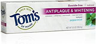 product image for Tom's of Maine 683079 Antiplaque and Whitening Fluoride-Free Natural Toothpaste, Peppermint, 5.5 Ounce, 24 Count