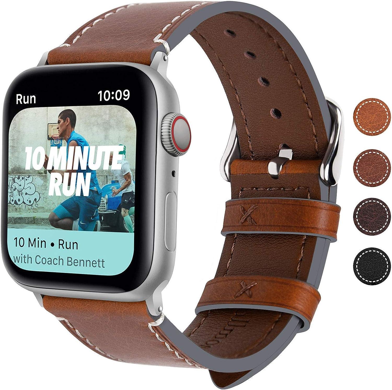 Fullmosa Correa Apple Watch Series 5/4/3/2/1, 4 Colores, Vintage Pulsera de Cuero Reemplazo de Apple Watch para Mujeres Hombres, Marrón Oscuro + Hebilla Plata, 42mm/44mm