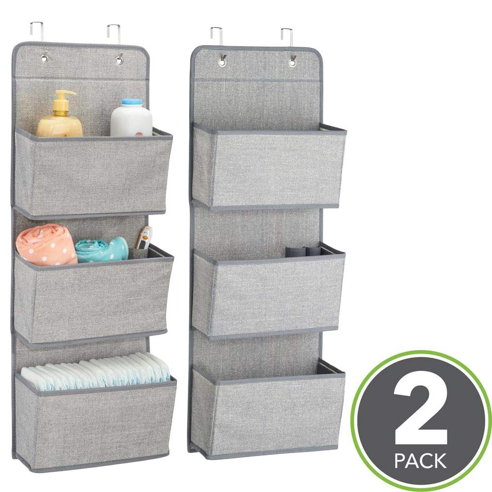 Hooks Included Gray mDesign Soft Fabric Wall Mount//Over Door Hanging Storage Organizer Textured Print 3 Large Pockets for Child//Kids Room or Nursery