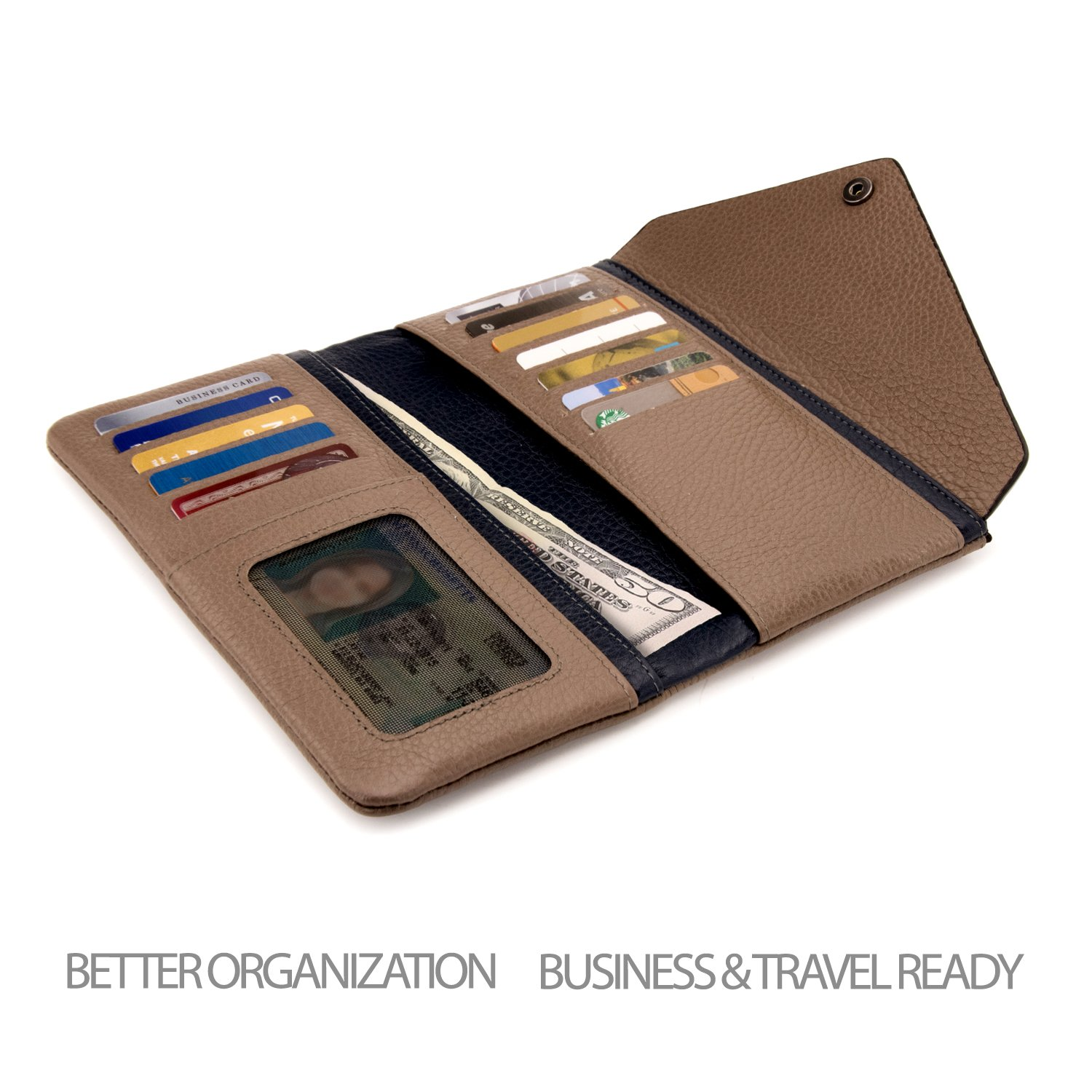 OTTO Genuine Leather Envelope Wallet with Phone Compatible Slots - RFID Blocking - Unisex (Navy Blue & Mink) by OTTO Leather (Image #4)