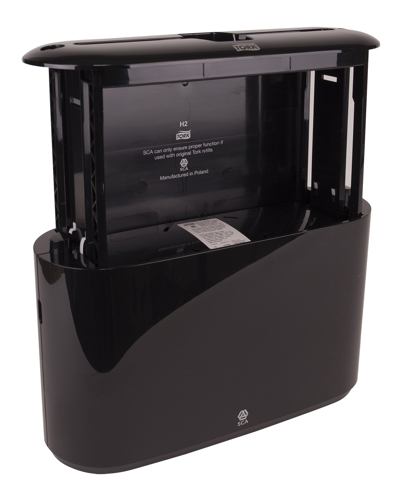 Tork 302028 Xpress Countertop Multifold Hand Towel Dispenser, Plastic, 7.92'' Height x 12.68'' Width x 4.56'' Depth, Black, for use with Tork MB550A, MB640, MB540A, H2/H23 by Tork (Image #5)