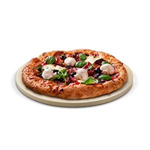 Cook N Home 02661 Pizza Grilling Baking Stone, 14-inch round x 5/8-inch, Cream