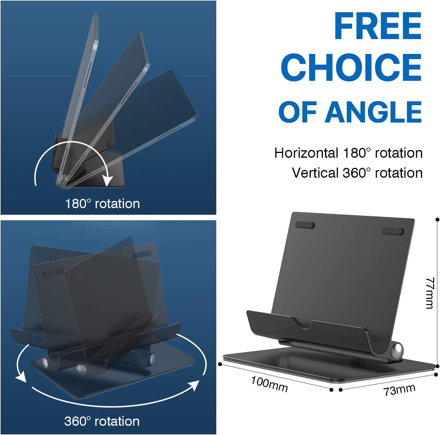 Compatible with Apple iPad Classic A Samsung Galaxy and Kindle Fire Tablets ORIbox Adjustable Tablet Holder Stand Cell Phone Stand