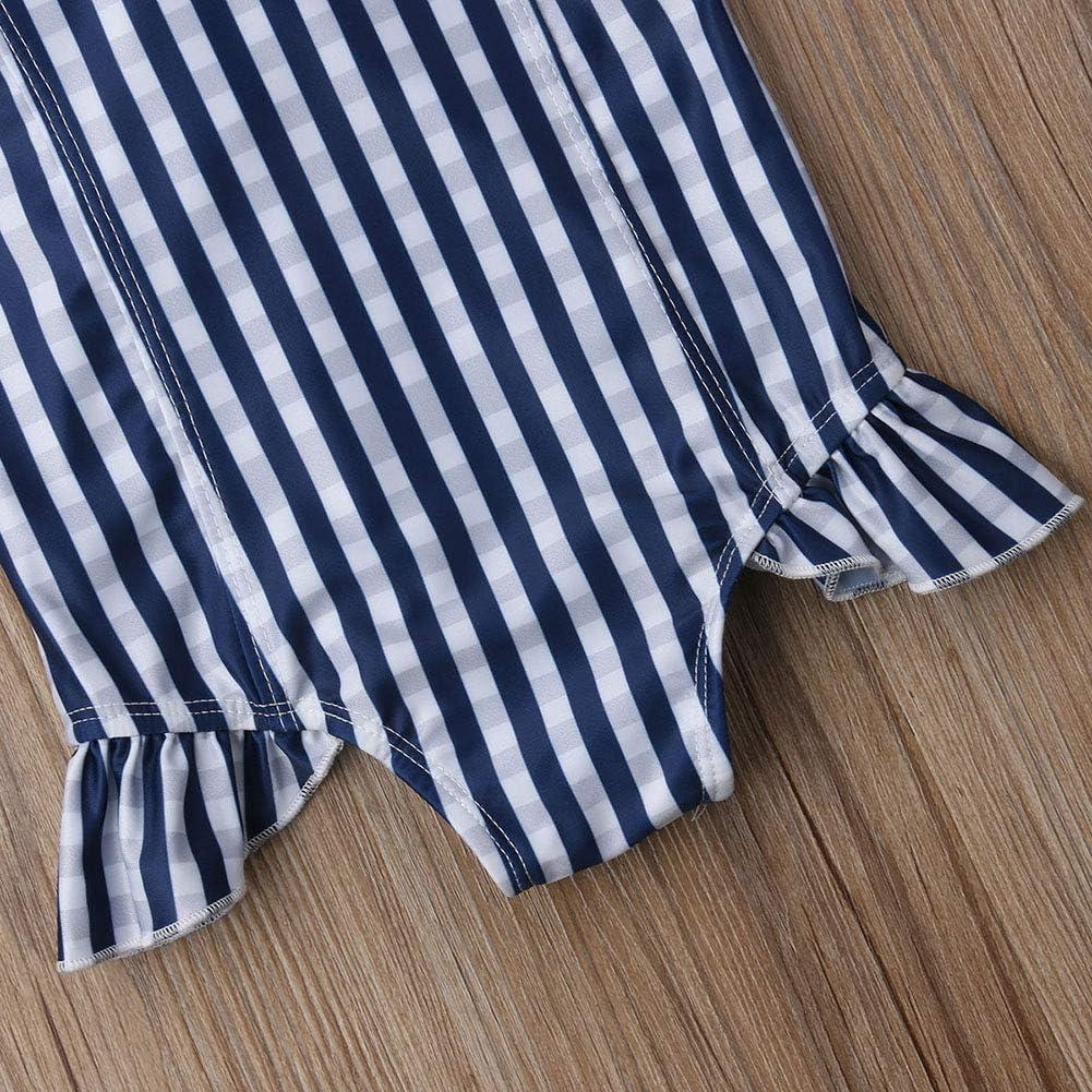 Calsunbaby Toddler Baby Girls Striped Off Shoulder Swimwear Bathing Suit One Piece Bikini Beachwear