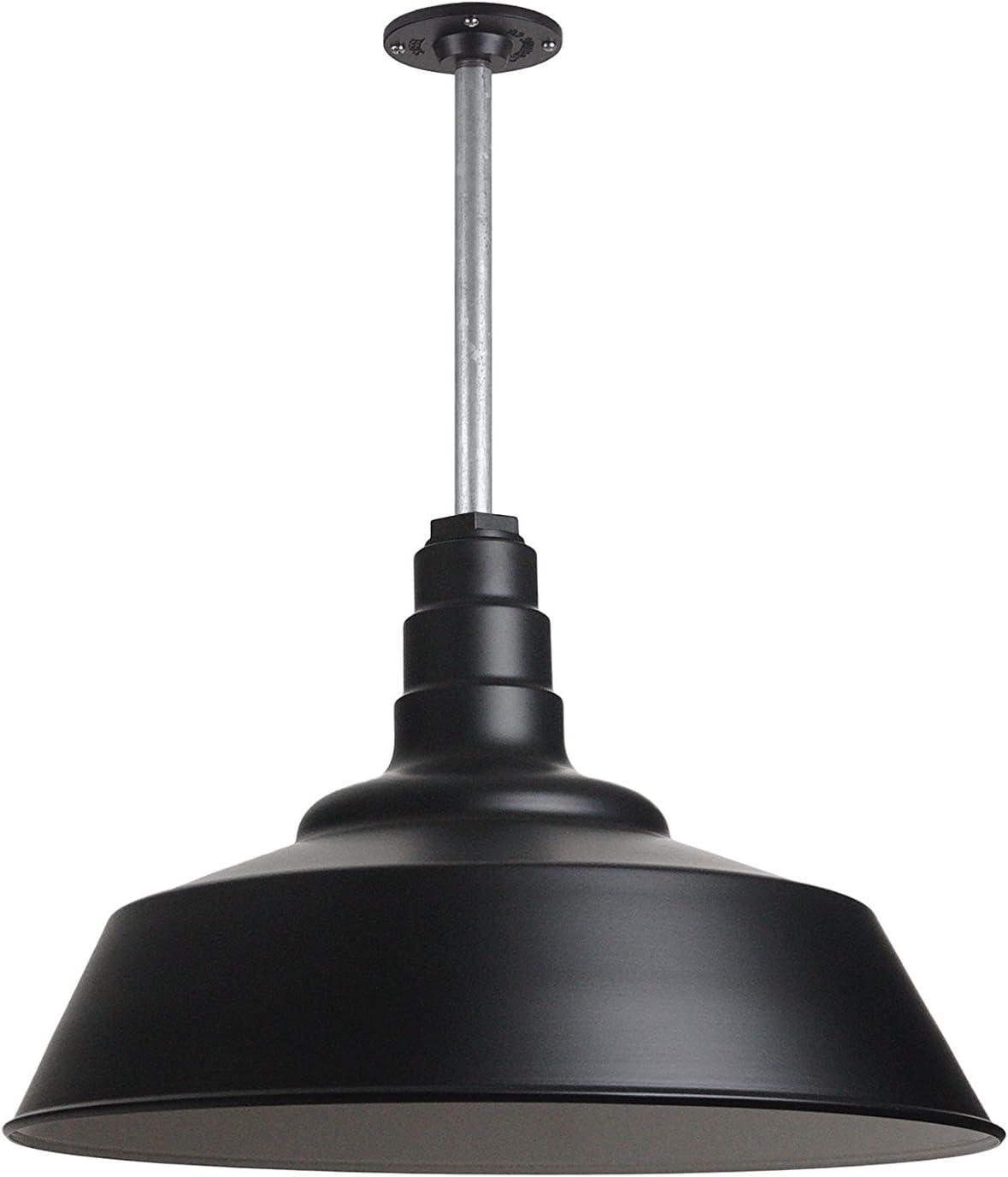 Black Large Warehouse Barn Light with Rigid Stem for Ceiling Made in America Heavy Duty Steel Light The Manhattan Industrial Pendant Light