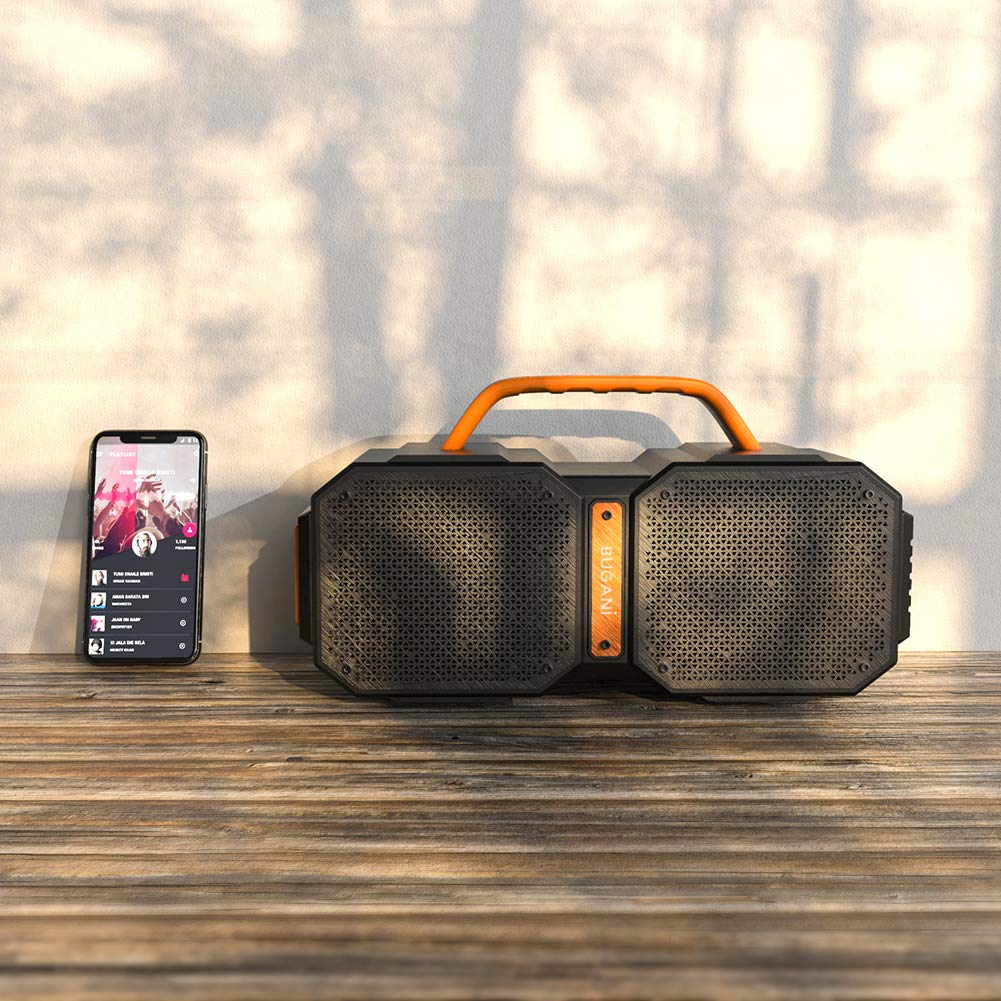 Bluetooth Speakers, Waterproof Outdoor Speakers Bluetooth 5.0,40W Wireless Stereo Pairing Booming Bass Speaker,2400 Minutes Playtime with 8000mAh Power Bank, Durable for Home Party,Camping(Black) by BUGANI (Image #8)