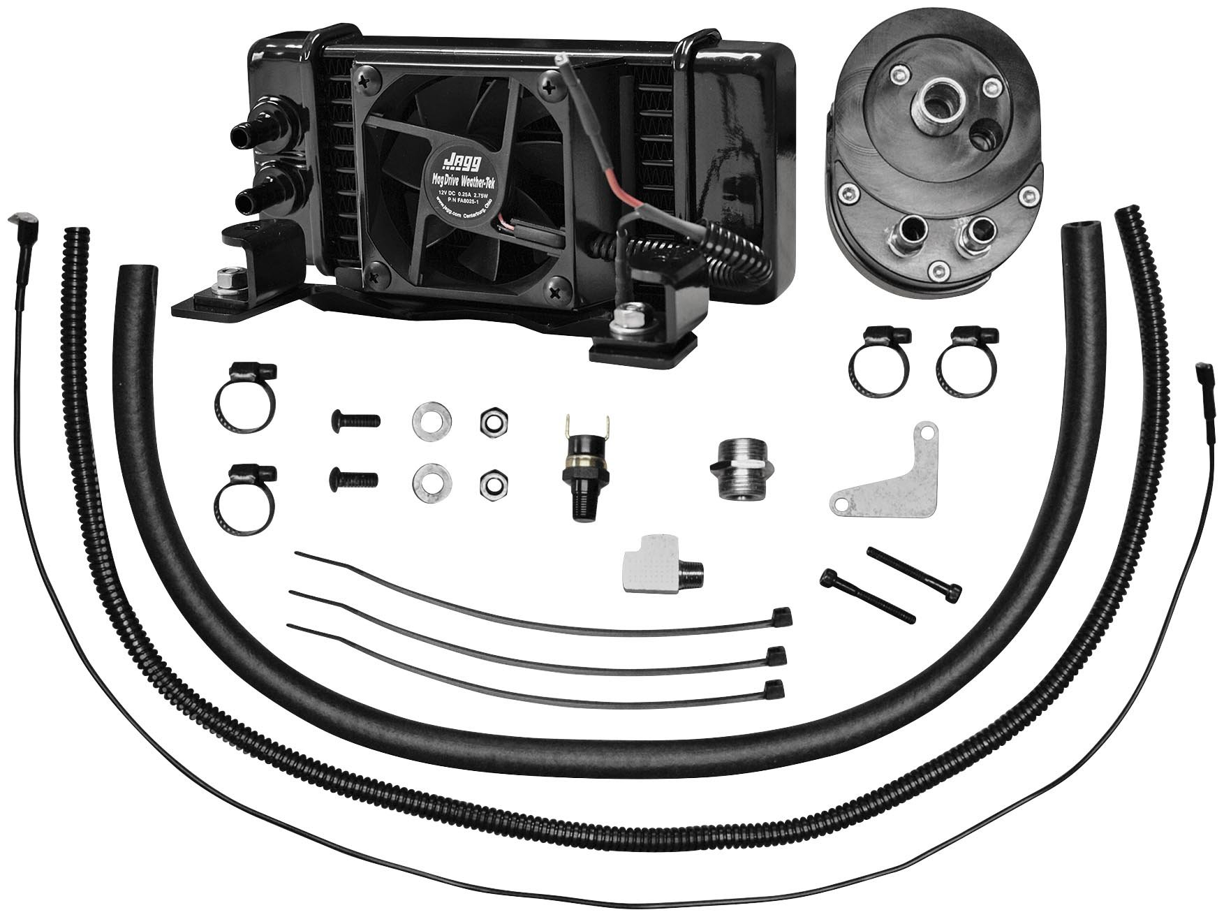 Jagg Oil Coolers Horizontal Low-Mount 10 Row Fan-Assisted Oil Cooler Kit - Black 751-FP2400 by Jagg