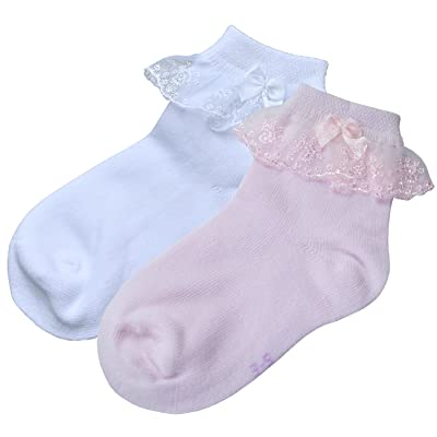 2 Pair Pack BePe Baby Little Girl and Baby Lace Ruffle Socks - Pink or White