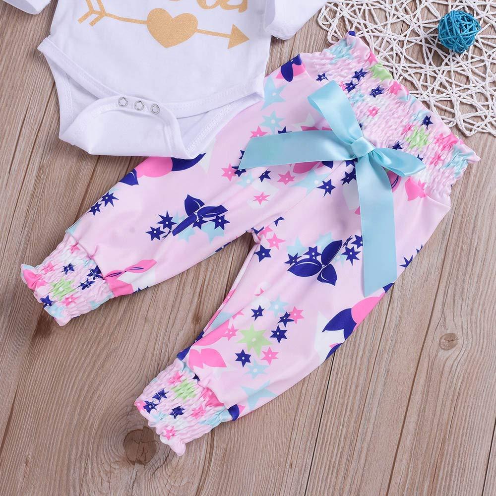 Floral Pants Cute Headband 3pcs Outfit Set Winsummer Newborn Baby Girl Clothes Little Sister Long Sleeve Romper