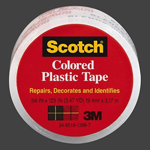 """3M SCOTCH Black Colored Plastic Tape for Repair and ID 3//4/"""" x 125/"""" 3.47 yds NEW"""