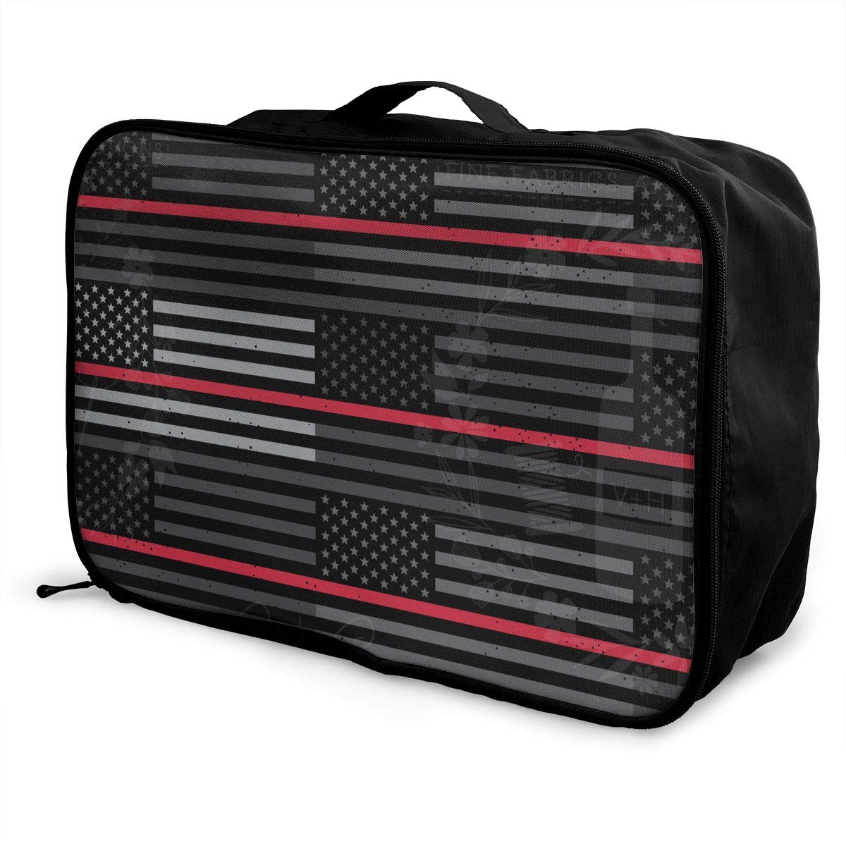 YueLJB Thin Red Line Flag Lightweight Large Capacity Portable Luggage Bag Travel Duffel Bag Storage Carry Luggage Duffle Tote Bag