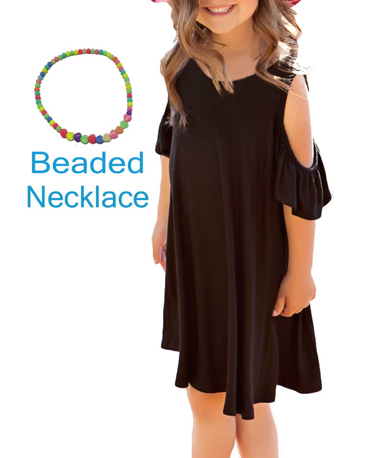 Sylaon 2018 Girls Casual Ruffle Sleeves Cold Shoulder Dress Swing Beach Dresses with Beaded Necklaces for Summer Party 4-13Y (A-Peony Black, 10-11Y/Height 55-58)