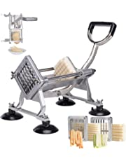 CO-Z Commercial Grade French Fries Cutter & Slicer Aluminum Alloy, Sweet Potato Frech Fry Maker(French Fry Cutter with 3/8 1/2 Wedge Blades)
