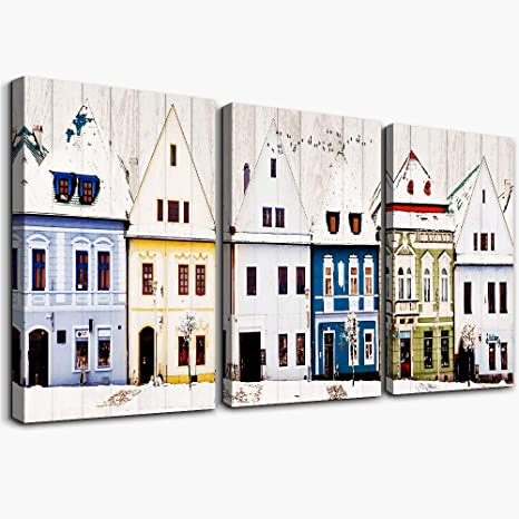 farmhouse store building Watercolor painting Wall Art for Living Room office Wall Artworks Bedroom Decoration, 3 piece Home bathroom Wall decor posters Canvas Prints Pictures modern wall Decorations