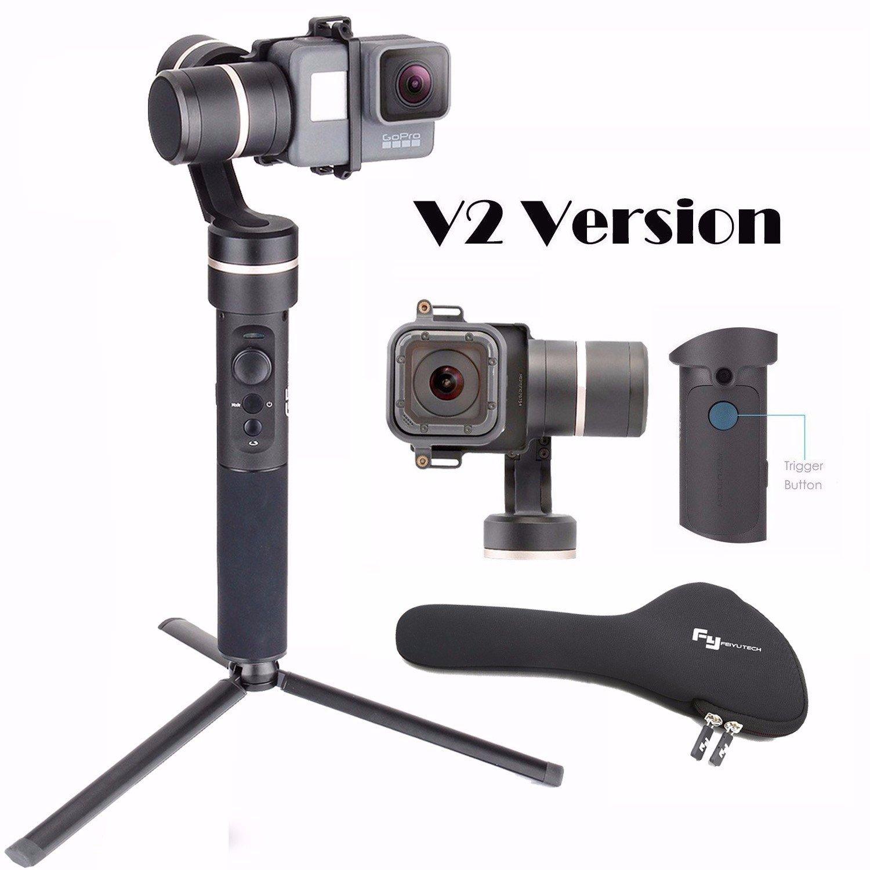 Feiyu G5 V2 Updated 3 Axis Splash Proof Handheld Gimbal for GoPro Hero 6 /5 /4 /3 /Session, Yi Cam 4K, AEE Action Cameras of Similar Size with EACHSHOT Mini Tripod