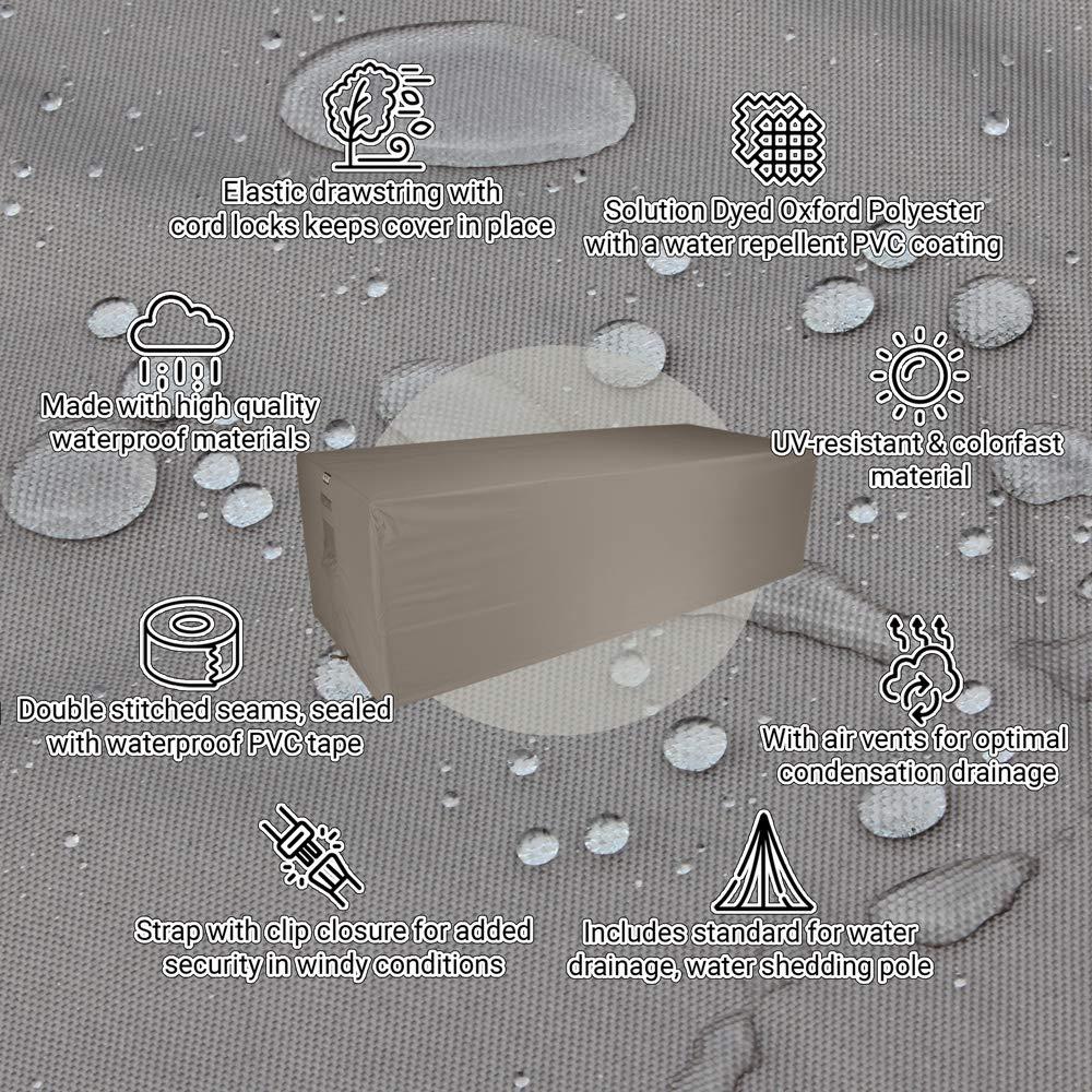 75 cm Loungesofa Abdeckung Raffles Covers NW-RLB260straight Wetterschutzh/ülle f/ür rechteckige Sofa 260 x 100 H Wetterschutz f/ür Rattan Garten Lounge Schutzh/ülle f/ür Gartensofa