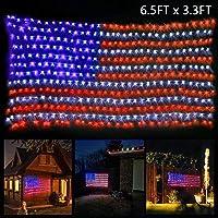 Ollny 6.5x3.3-Foot American Flag LED Mesh Lights