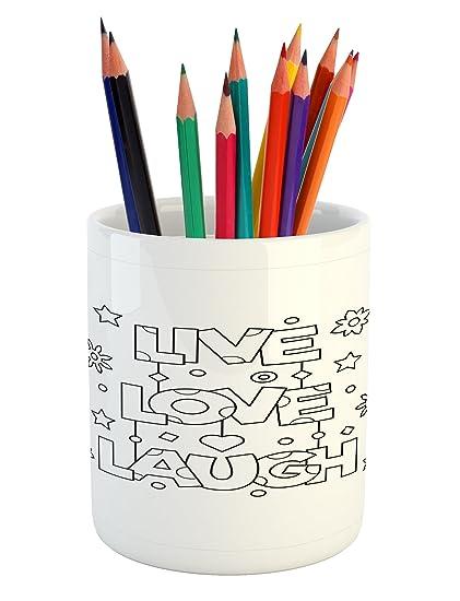 Amazon.com: Ambesonne Live Laugh Love Pencil Pen Holder ...