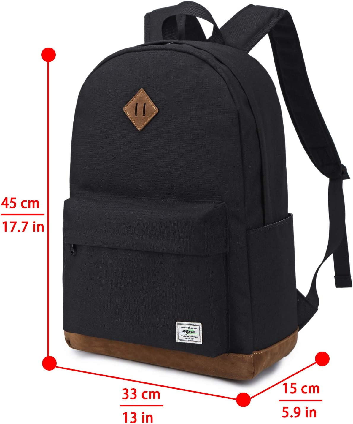 Travel Daypack Fits 14 Inch Laptop for Men /& Women El-fmly Classic Water Resistant School Backpack Black