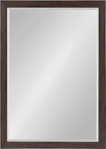 DesignOvation Beatrice Framed Wall Mirror, 27×39, Walnut Brown