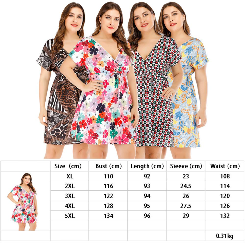 FSIGOM Women's Plus Size Sexy Deep V-Neck Sleeveless Print Casual Beach Dress,Short Sleeve Printed Skirt,XL-4XL (Short Sleeves 2, XL)