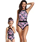 8364f42ce8 Qunlei Mommy and Me One Piece Swimsuit Floral Family Matching Swimwear for Women  Girls