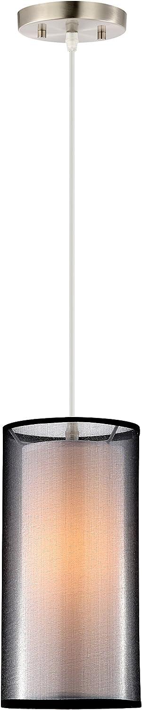 Light Society Medio Cylindrical Pendant Light, Black Double Fabric Shade, Contemporary Minimalist Modern Lighting Fixture LS-C240-BK