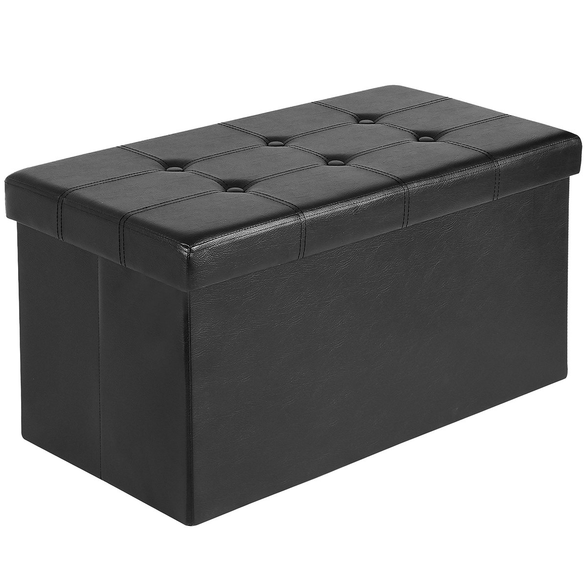 Ulikit L Black Storage Ottoman with Memory Foam Seat, Folding Foot Rest Stools Table Tufted Ottomans Bench with Faux Leather,