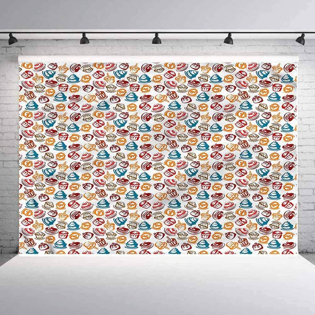 5x5FT Vinyl Photography Backdrop,Culinary,Cupcakes Cakes Creams Photo Background for Photo Booth Studio Props