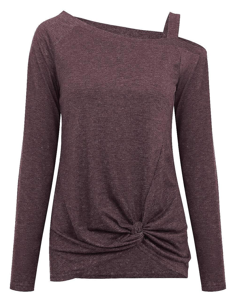 Martiount Camiseta Blusa Manga Larga Mujer Hombro Fr/ío Camisa Cuello Redondo Oto/ño Shirt Elegante Vintage Tops Casual Sweatshirt B/ásico in Algod/ón Side Twist Knot Pullover T-Shirt