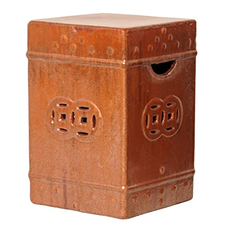 Square Asian Garden Stool End Table  Red Rust Brown Glaze